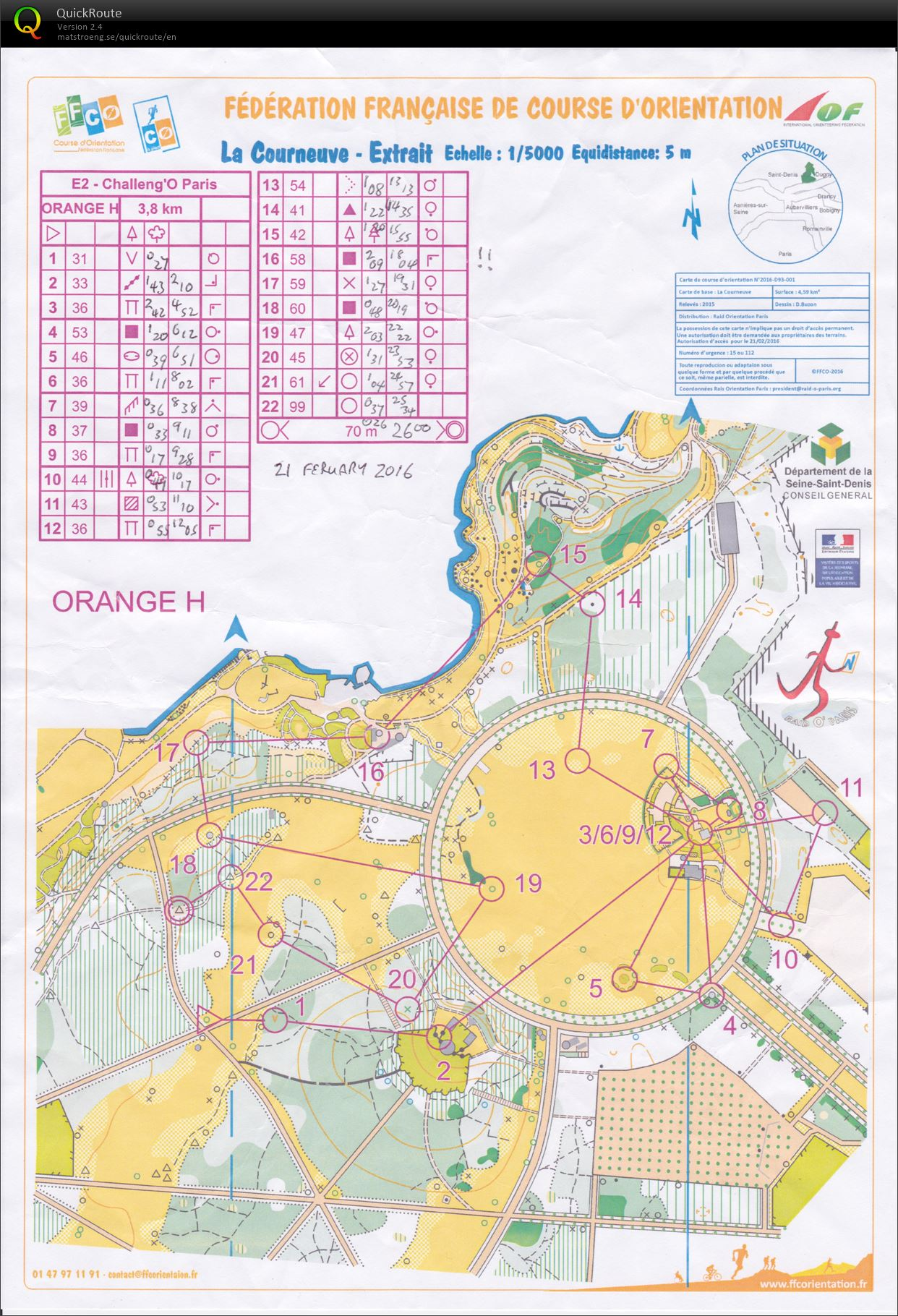 Challenge O Paris E February St Orienteering Map From - Paris map 2016